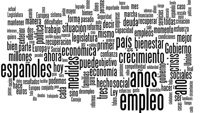 Foto: Las palabras más pronunciadas en el discurso de Rajoy (El Confidencial)