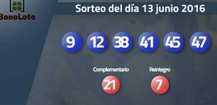 Post de Resultados del sorteo de la Bonoloto del 13 de junio de 2016: números 9, 12, 38, 41, 45, 47