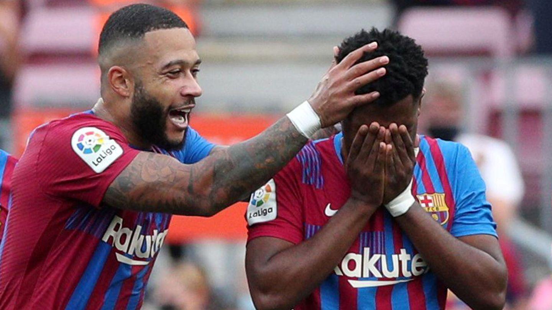 El goleador azulgrana se emocionó al anotar su gol. (Reuters)