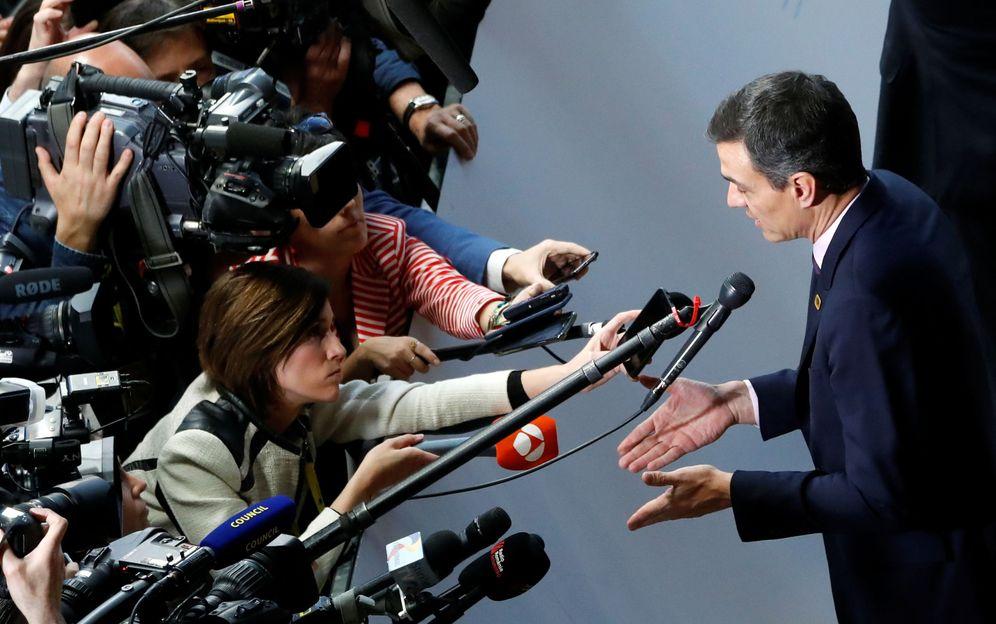 Foto: Pedro Sánchez, atendiendo a los medios este 10 de abril en Bruselas, antes del Consejo Europeo del Brexit. (Reuters)