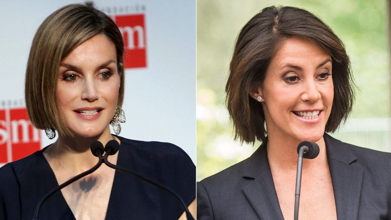 Foto: Letizia y Marie con el mismo peinado e idéntico gesto (Gtres/Cordon Press)