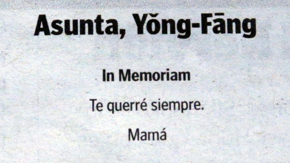 La madre de Asunta publica una esquela en el segundo aniversario de su muerte
