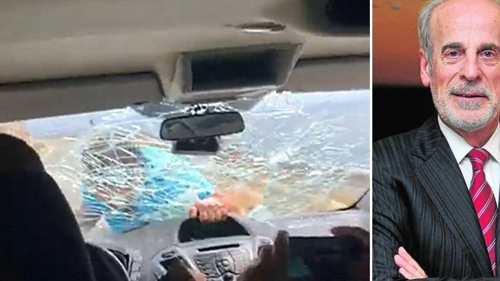 Foto: Kokedhima, encaramado al capó del coche de Galdón, golpea el cristal hasta introducir un brazo. (RTV Ora)