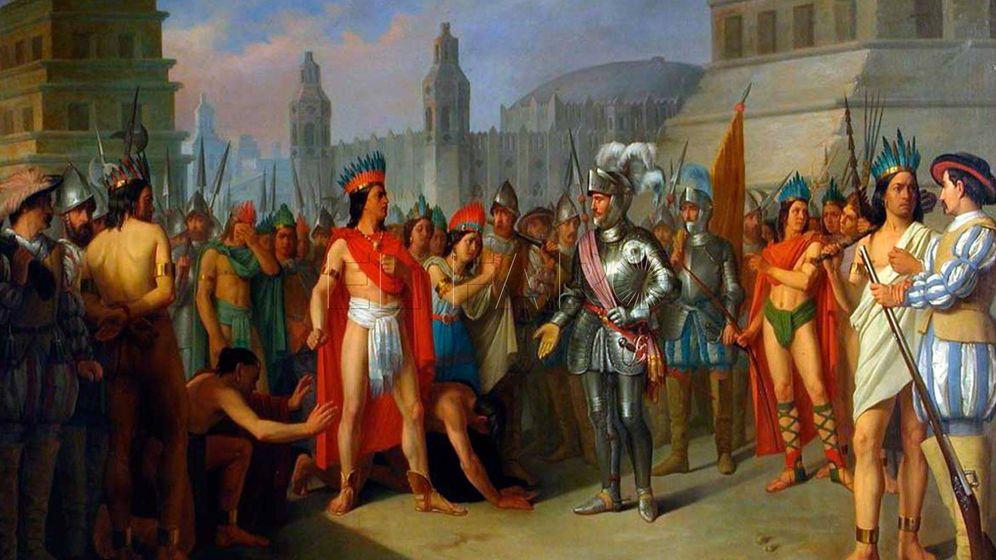 Foto: Representación idealizada del encuentro de Hernán Cortés con Moztezuma