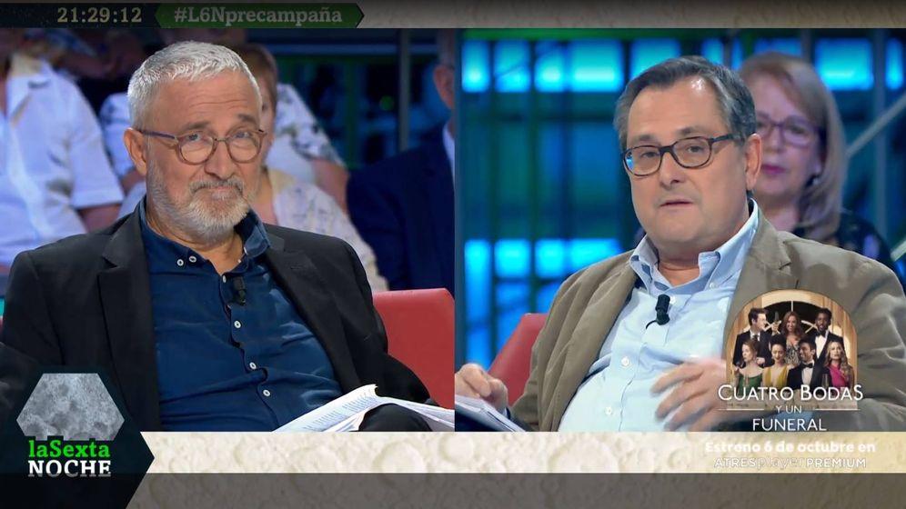 Foto: Xavier Sardá y Francisco Marhuenda, en 'La Sexta noche'. (Atresmedia).