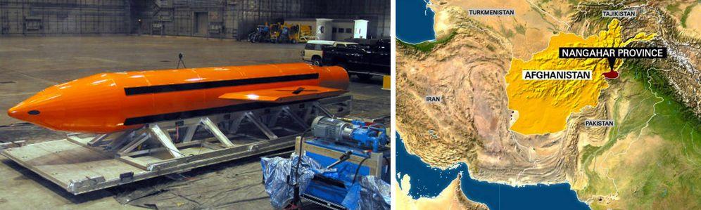 Foto: Una imagen de la bomba y un mapa de dónde ha sido lanzada.