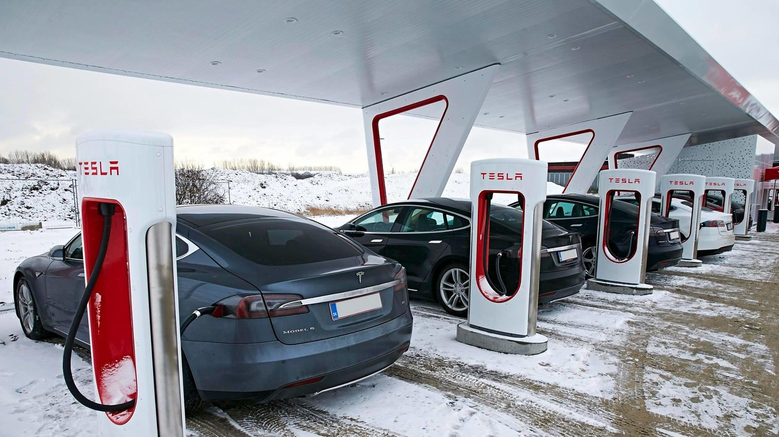 Foto: Un Supercharger de Tesla en Copenhague, Dinamarca
