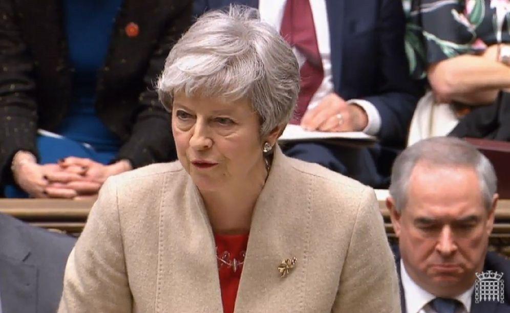 Foto: La primera ministra del Reino Unido, Theresa May, durante su intervención en el Parlamento. (Reuters)