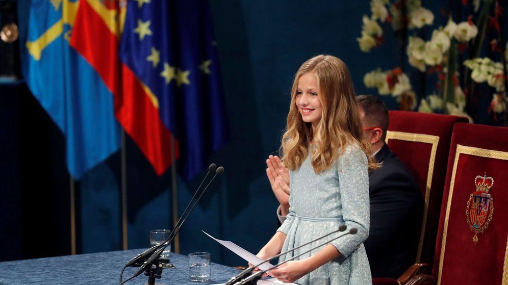 Foto: La princesa Leonor pronuncia su discurso por primera vez en la ceremonia de entrega de los Premios Princesa de Asturias. (EFE)