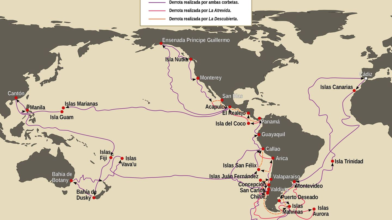 Rutas realizadas por las corbetas La Atrevida y La Descubierta en la expedición Malaspina entre 1789 y1794. (Iván Hernández Cazorla, Wikimedia Commons - Licencia CC-BY-SA 4.0)