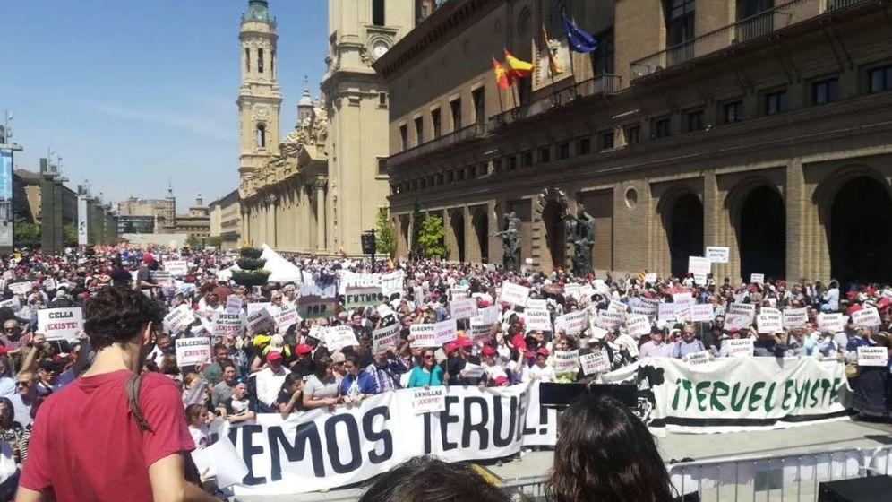 Foto: Manifestación de la plataforma Teruel Existe. (Cedida)