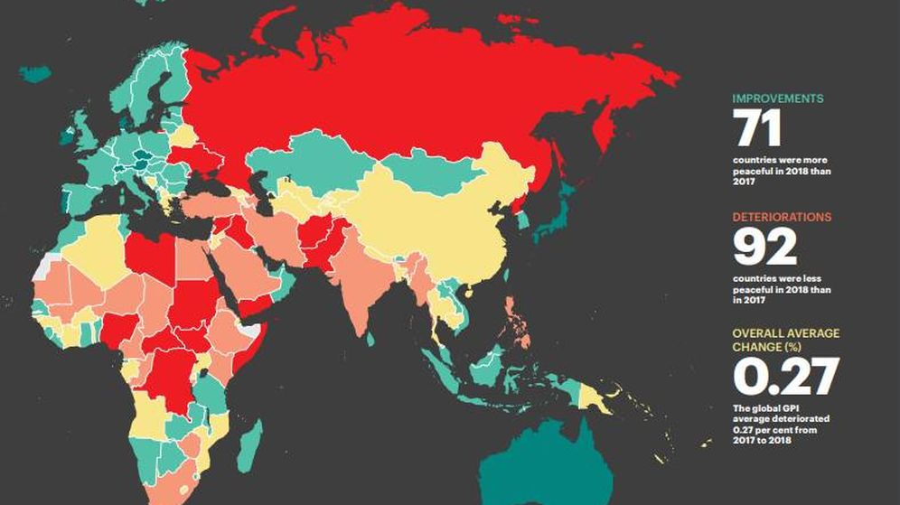 Foto: Mapa del GPI   Instituto para la Economía y la paz
