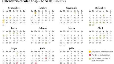 Calendario escolar de Baleares para el curso 2019-2020: vacaciones, festivos y no lectivos