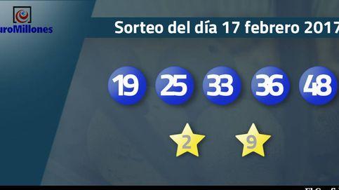 Resultados del sorteo del Euromillones del 17 de febrero: números 19, 25, 33, 36, 48