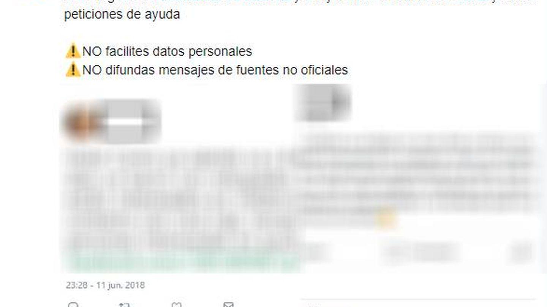 Tuit de la Guardia Civil con las capturas pixeladas