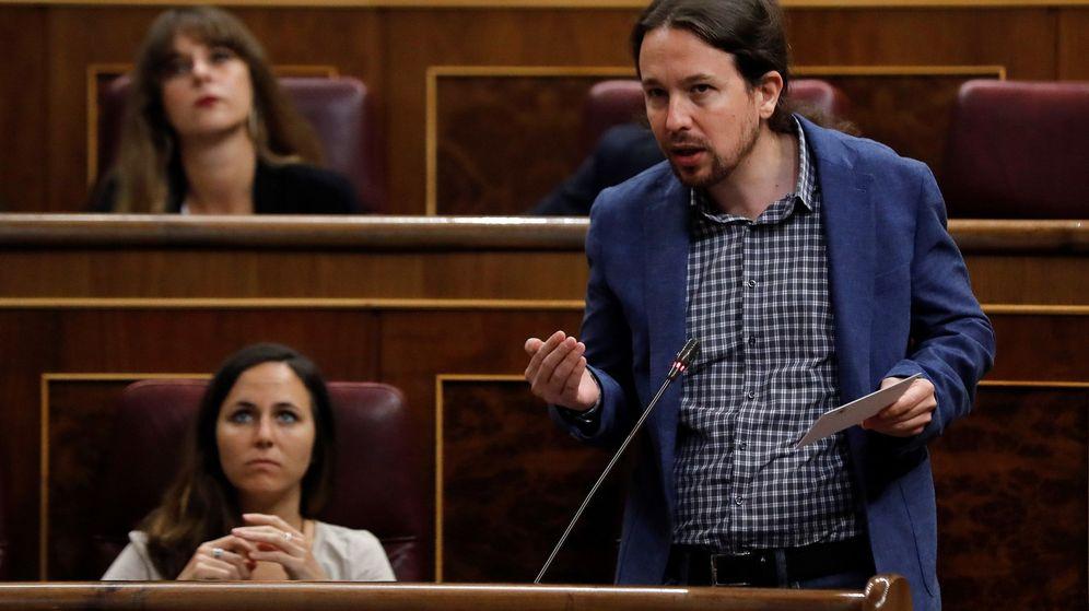 Foto: El secretario general de Podemos, Pablo Iglesias, interviene en la sesión de control al Gobierno hoy en el Congreso. (EFE)