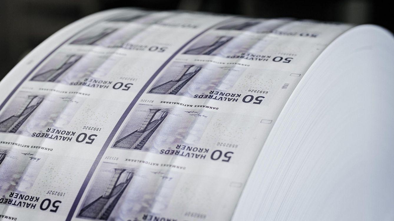 Foto: Imagen de una bobina de billetes de corona danesa
