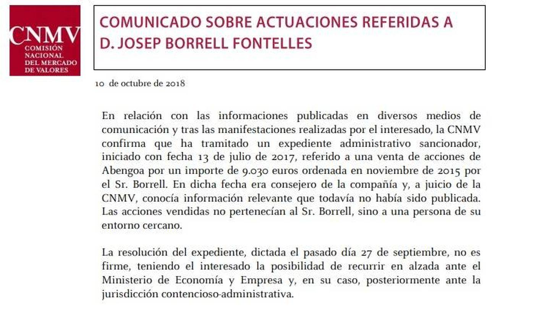 Comunicado de la CNMV sobre Borrell.