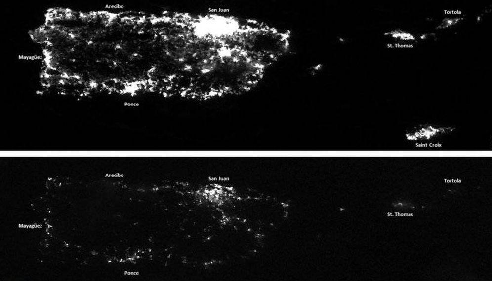 Foto: Puerto Rico de noche antes y después de María (@NOAASatellites)