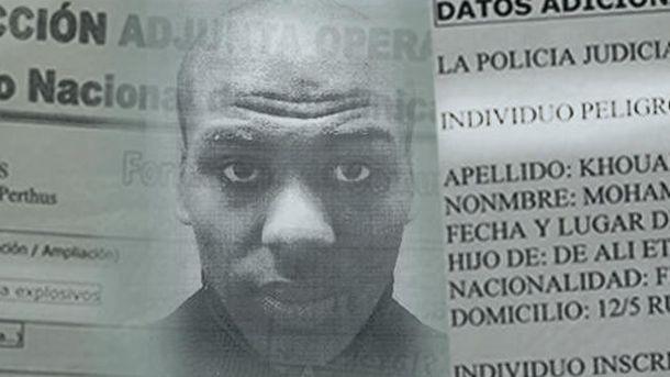 Foto: Montaje del terrorista buscado junto a su ficha.
