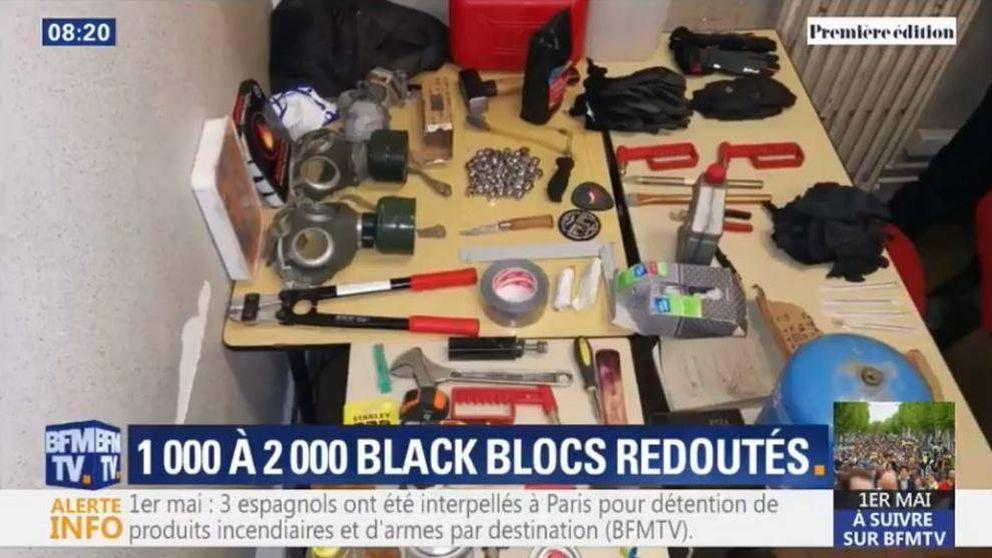 3 españoles que acudían al 1 de mayo de París, detenidos con artefactos incendiarios