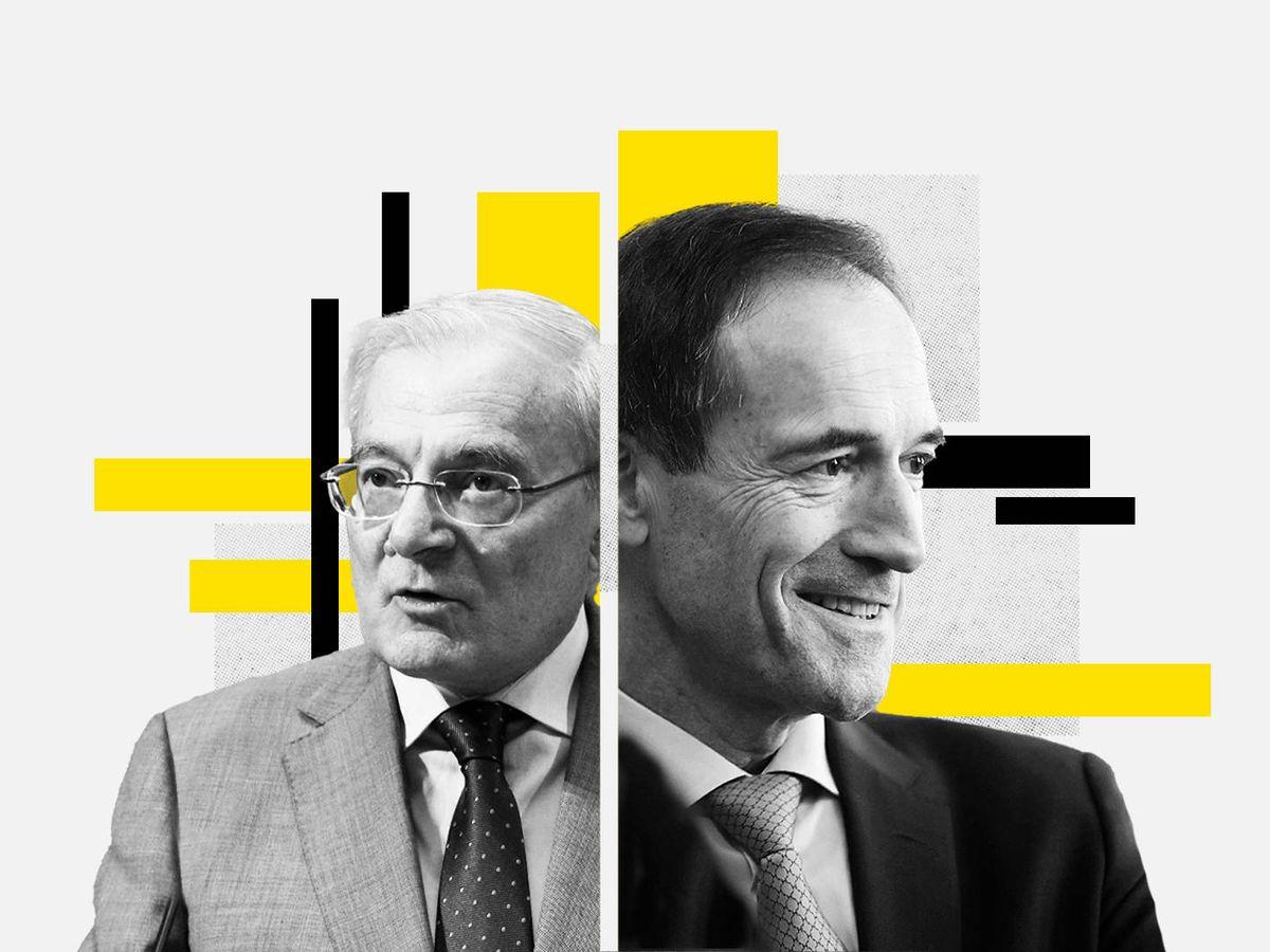 Foto: Manuel Azuaga (i), presidente de Unicaja, y Manuel Menéndez, CEO de Liberbank. (EC)
