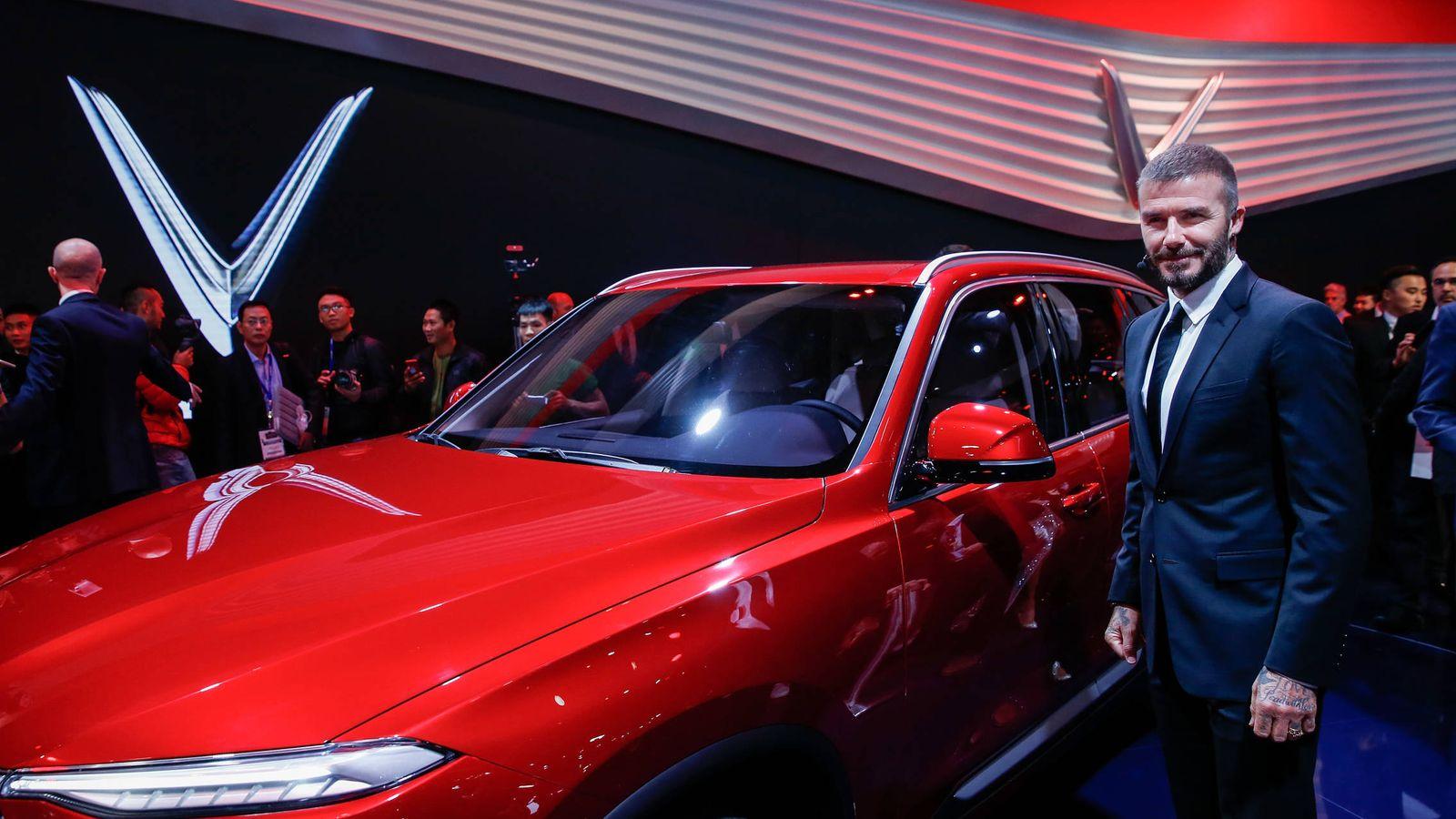 Foto: David Beckham, en el salón del motor de París. (Getty)