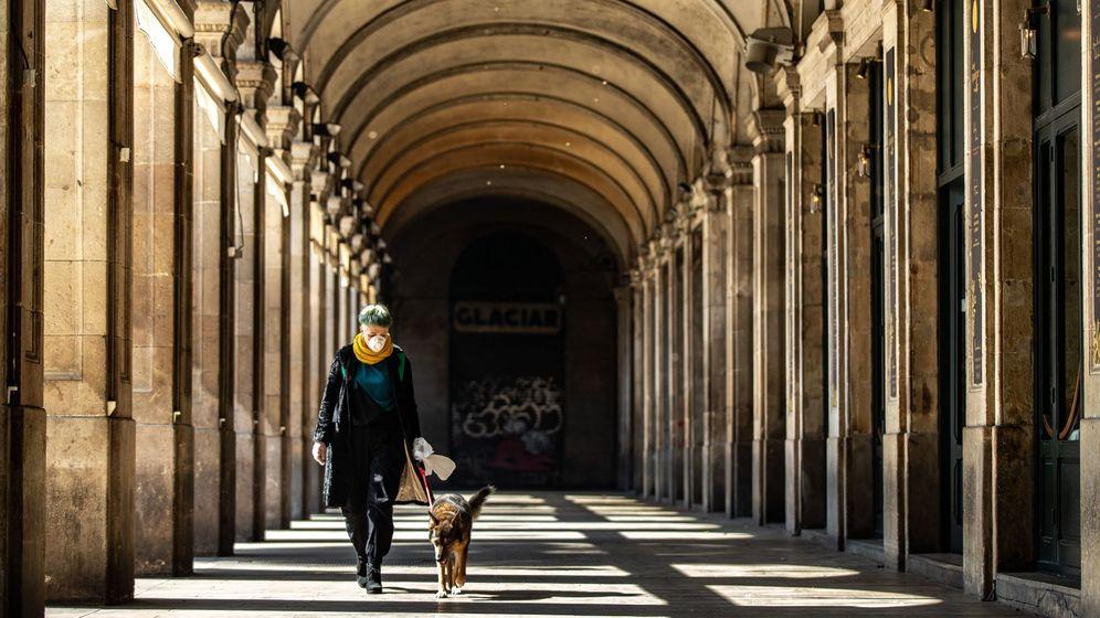 Foto: Una mujer pasea a un perro en Barcelona. (EFE)