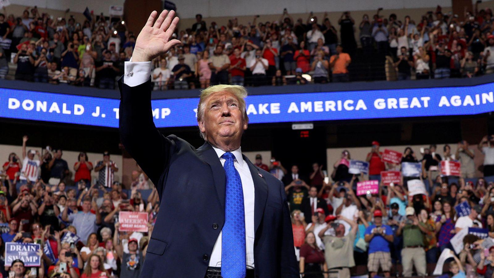 Foto: El presidente de EEUU, Donald Trump, durante un evento con simpatizantes en Southaven, el 2 de octubre de 2018. (Reuters)