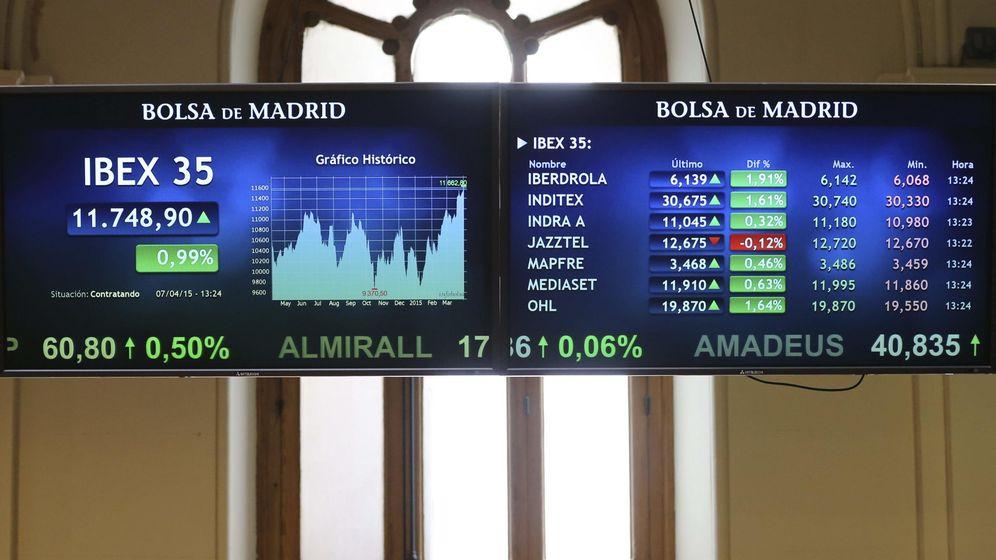 Foto: Vista del panel principal de la Bolsa de Madrid