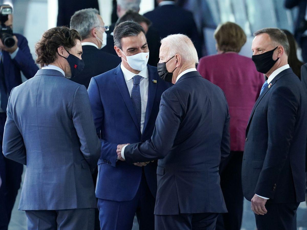Foto: Pedro Sánchez habla con Joe Biden y Justin Trudeau. (Reuters)