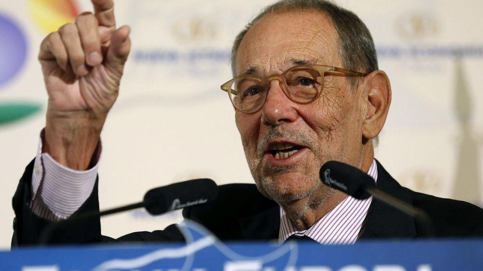Foto: Javier Solana, durante su intervención este 23 de septiembre en Nueva Economía Fórum, en el hotel Palace de Madrid. (EFE)