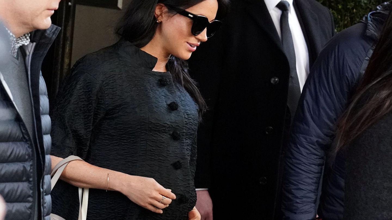 La duquesa de Sussex, saliendo del hotel donde se ha hospedado en Nueva York. (Reuters)