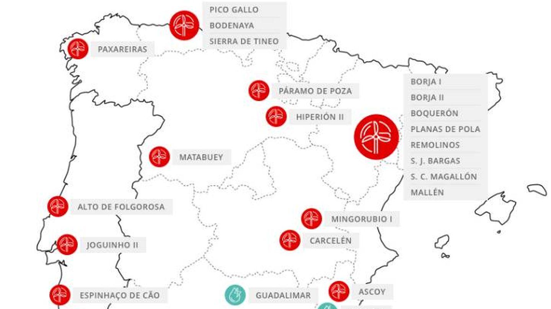 Parques renovables de Viesgo en España y Portugal. (Fuente: Viesgo.com)