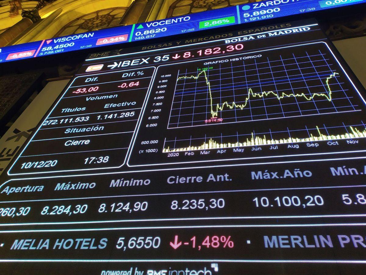 Foto: Pantalla de evolución del Ibex 35 en la Bolsa de Madrid. (EFE)