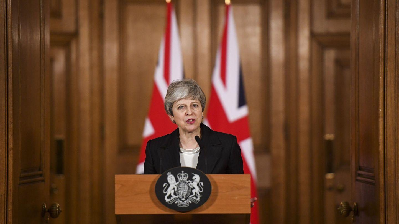 La primera ministra británica, Theresa May, hace una declaración este miércoles en Downing Street. (EFE)