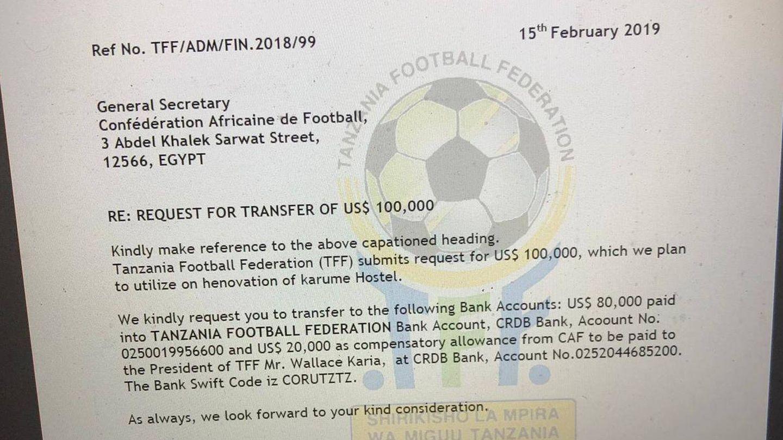 Carta en la que el secretario general de la Federación de Tanzania reclama al de la CAF el pago de los 100.000 dólares prometidos por Ahmad para ayudas a cada federación africana. Una parte, 20.000, son para el presidente de cada federación como gratificación por ayudarle a llegar al cargo.