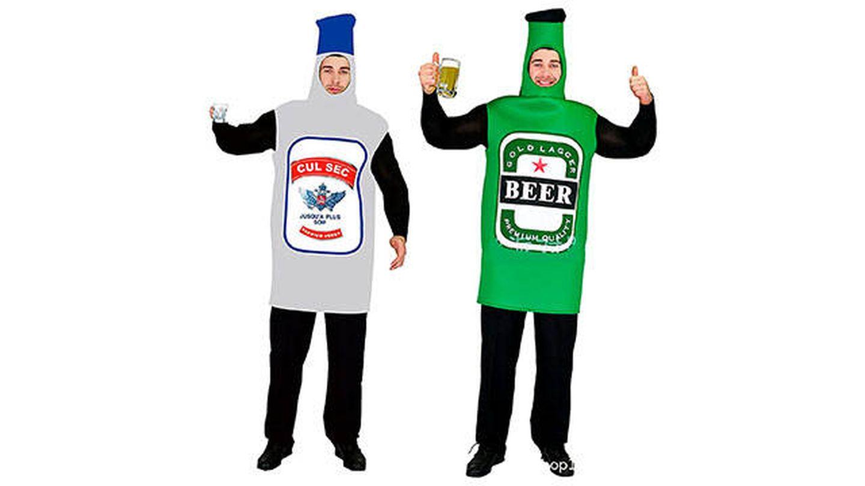 Disfraces de un par de botellas de vodka y cerveza