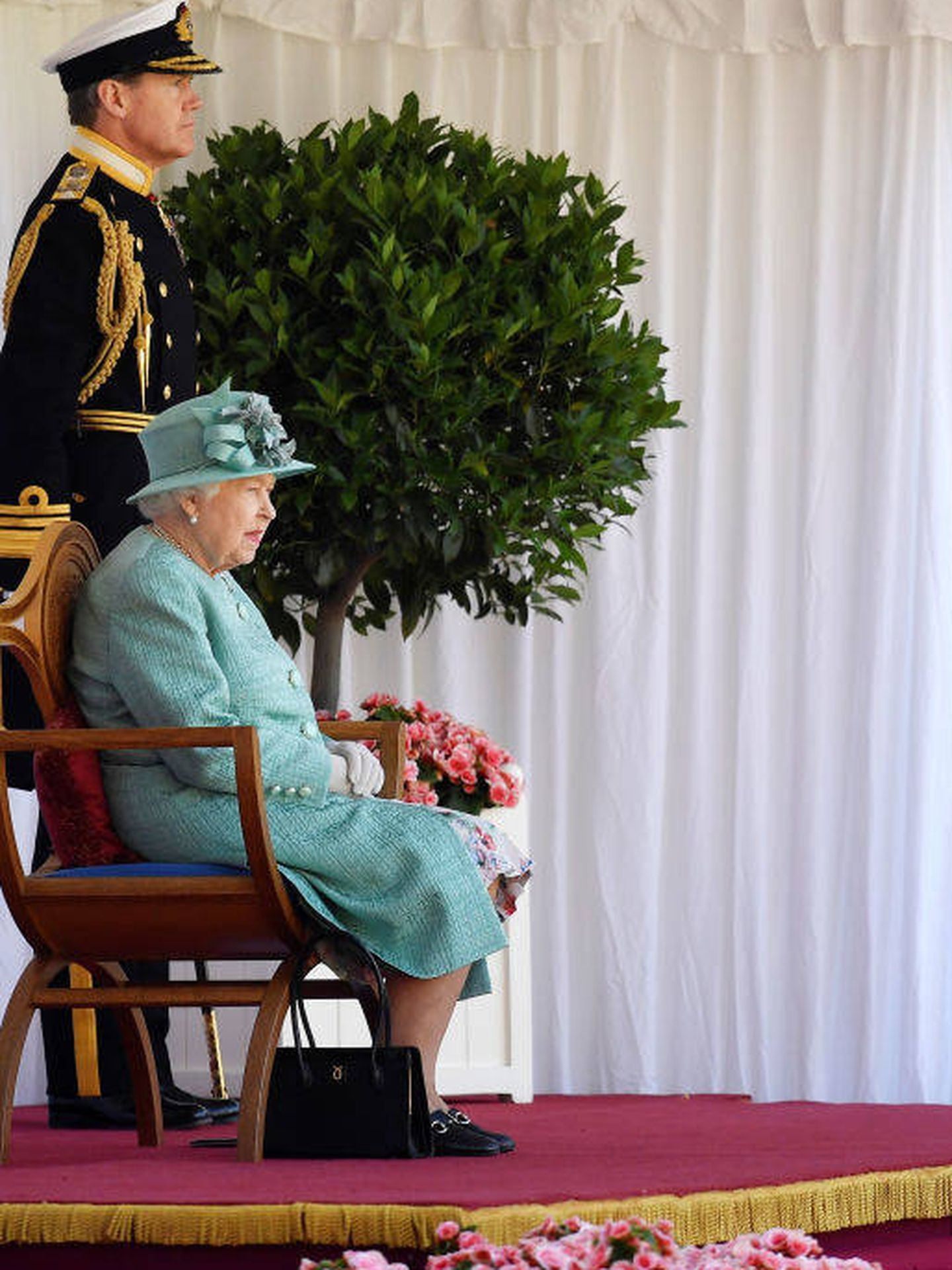 Isabel II durante el 'Trooping The Colour 2020'. (Getty)