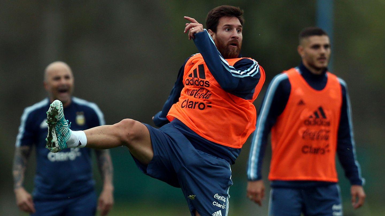 Messi, entrenándose en Valdebebas. (EFE)