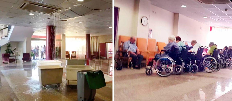 Foto: Inundación en el vestíbulo de la Residencia de la Tercera Edad Mirasierra (i) y algunos de los ancianos que descansan en planta (d). (EC)