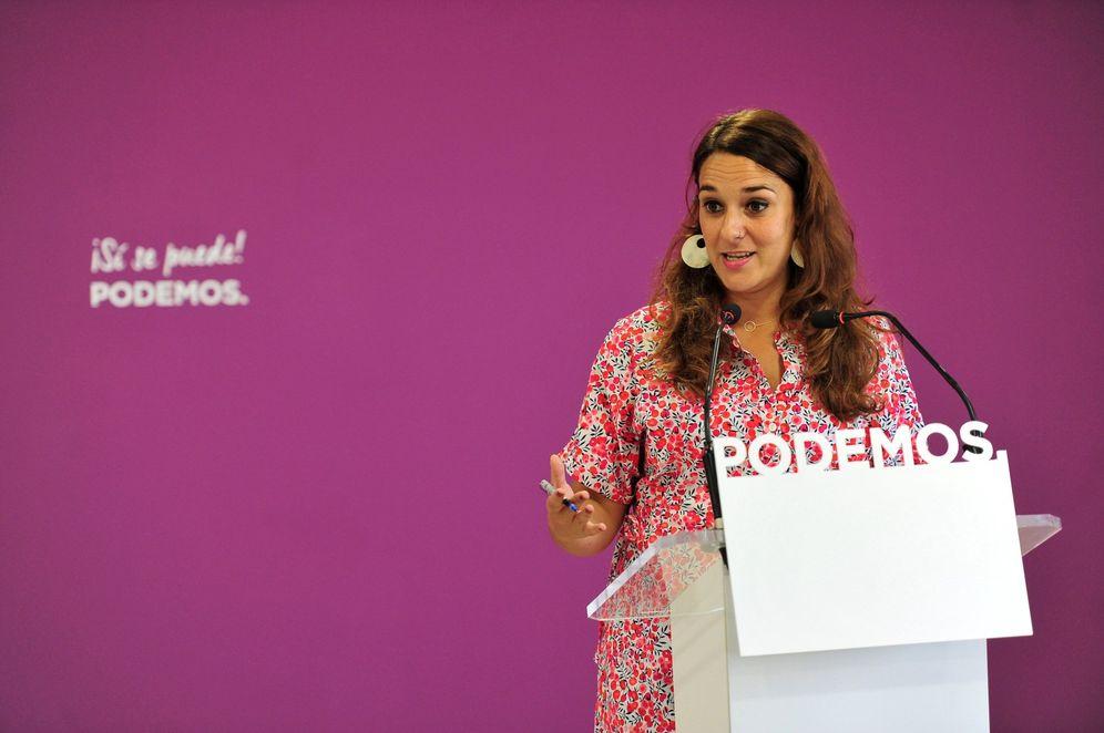 Foto: Noelia Vera, portavoz de Podemos, este 9 de septiembre en rueda de prensa en la sede de su partido. (EFE)