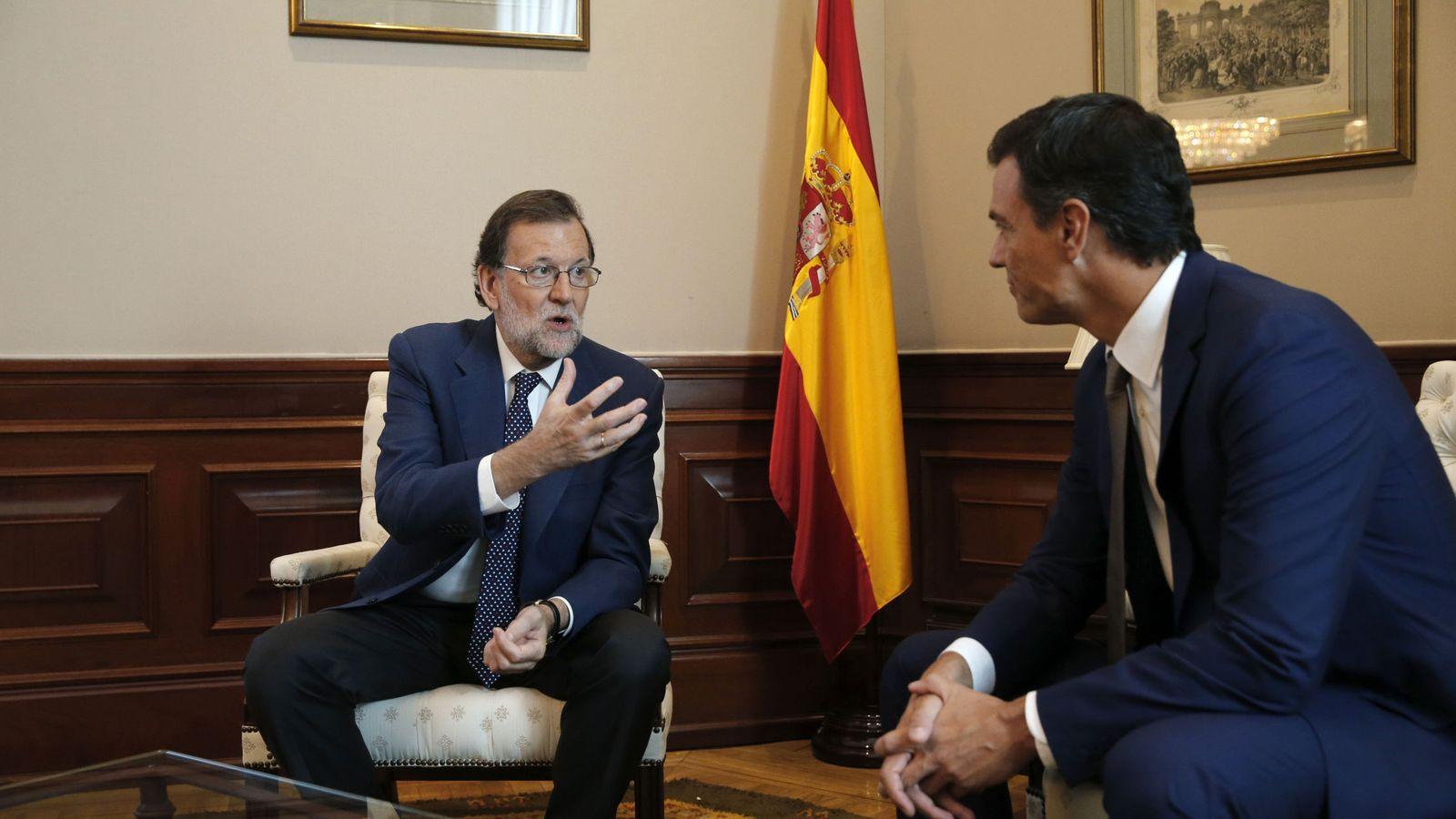 Foto: Mariano Rajoy y Pedro Sánchez, en su última reunión antes de la defenestración del madrileño, el 29 de agosto de 2016. (EFE)