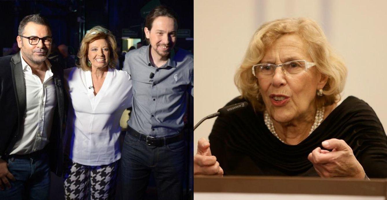 Foto: Jorge Javier Vázquez con María Teresa Campos y Pablo Iglesias, y Manuela Carmena (Gtres)