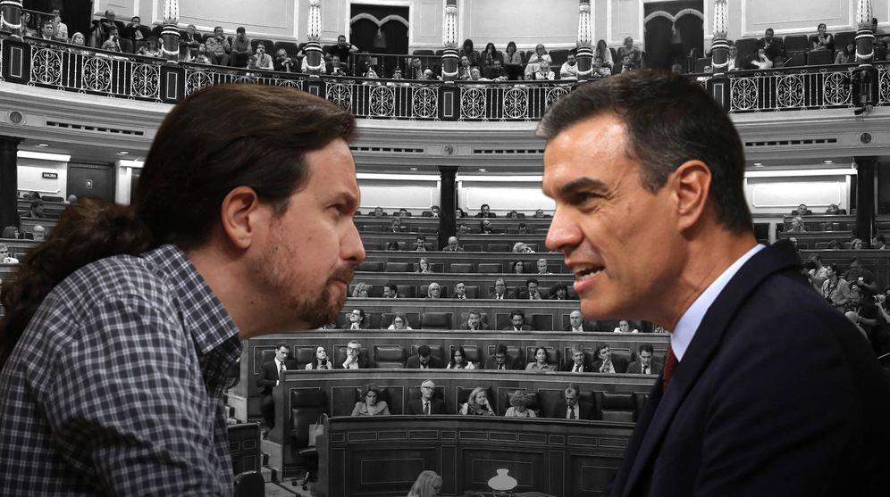 Foto: Pablo Iglesias vs. Pedro Sánchez, durante el debate de investidura de esta semana en el Congreso. (EC)