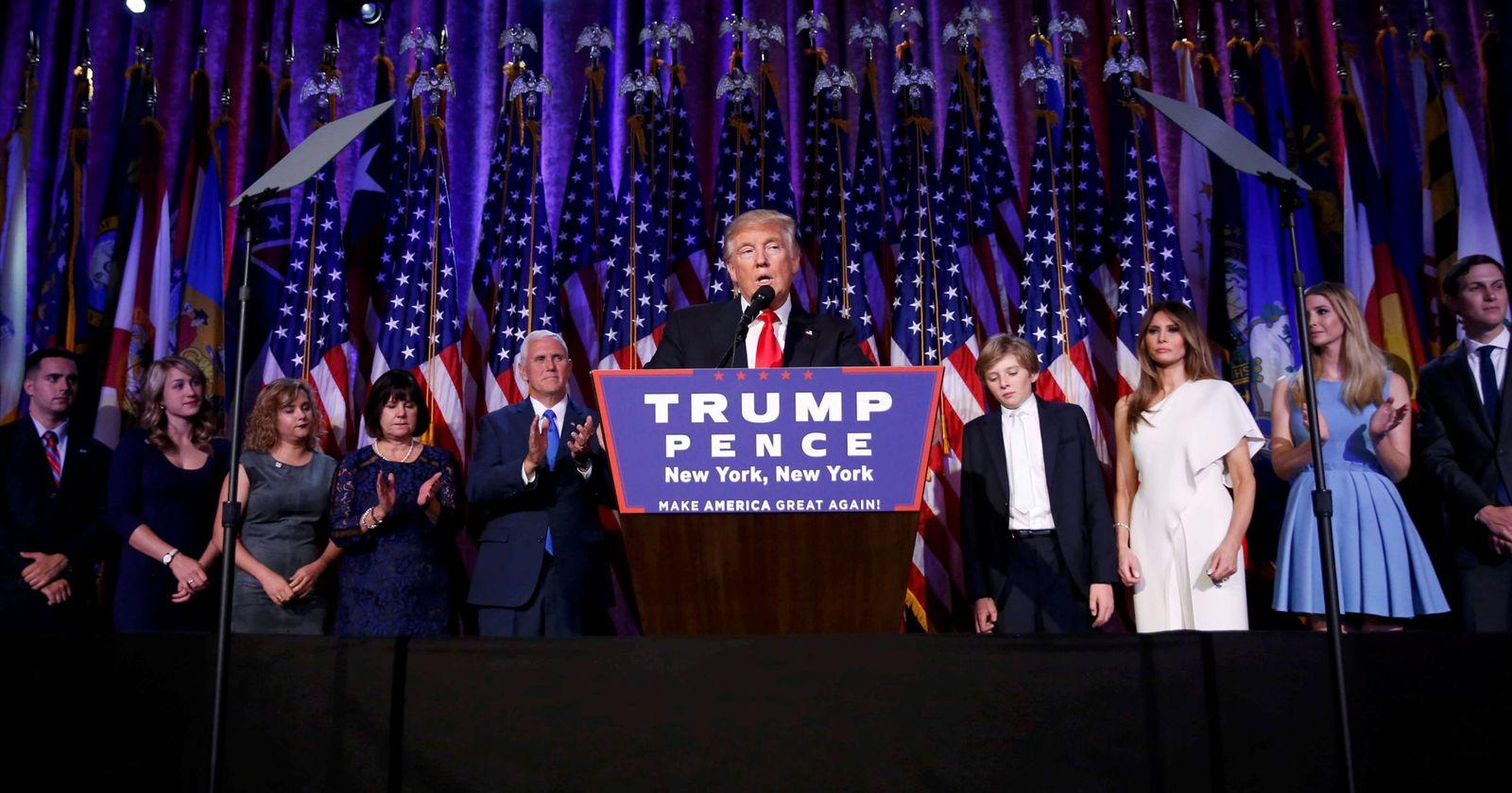 Foto: El presidente electo Donald Trump durante su discurso de la victoria en Manhattan, Nueva York (Reuters).