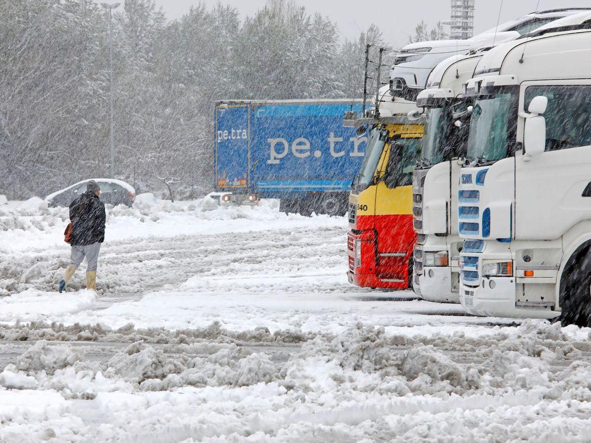 Foto: Camiones de transporte, parados por la borrasca Filomena. (EFE)