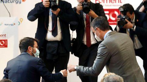 Pedro Sánchez y Pere Aragonès ensayan el funeral del 'procés' ante los empresarios