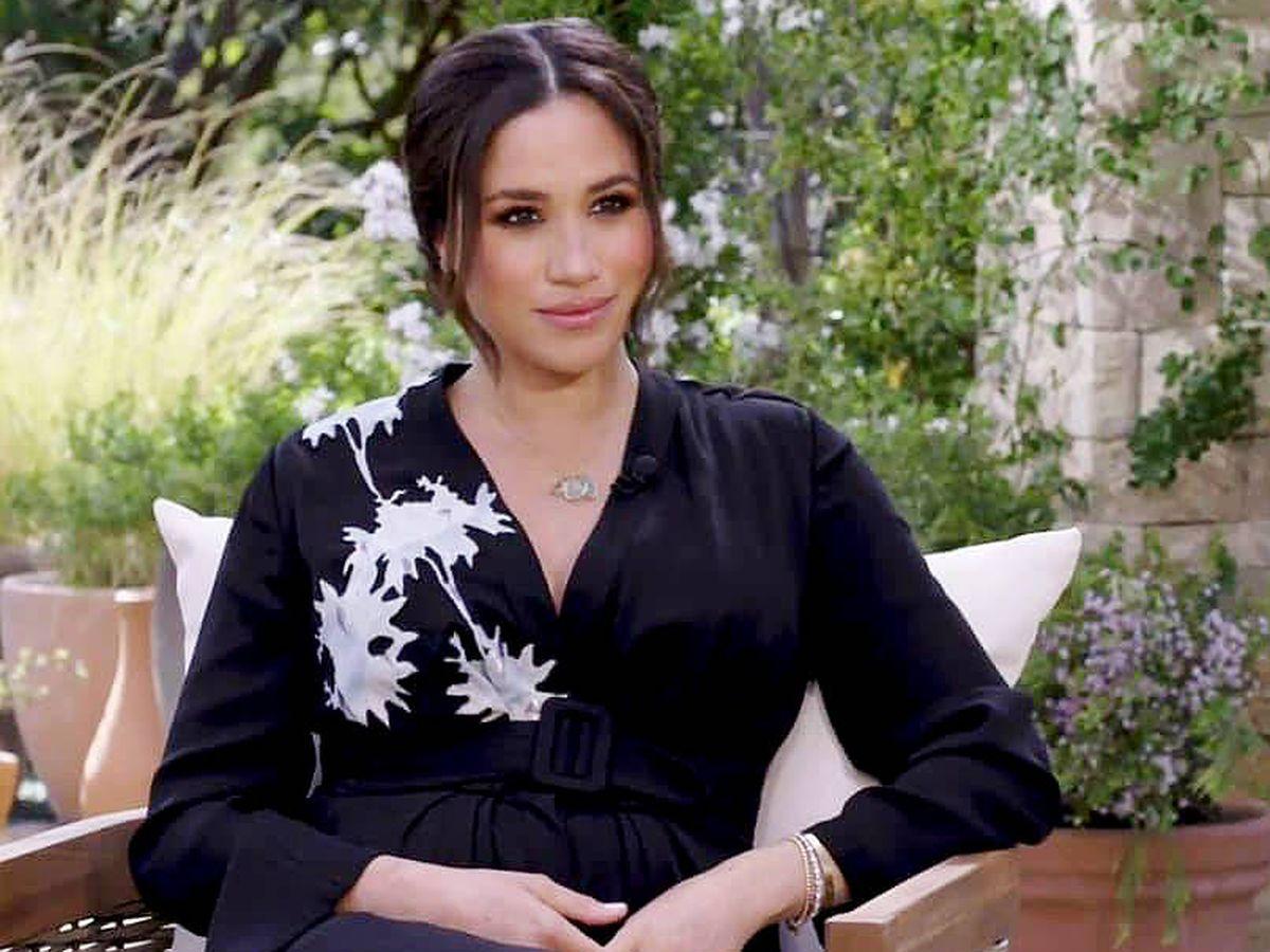 Foto: Meghan Markle, durante su entrevista con Oprah Winfrey. (CBS)