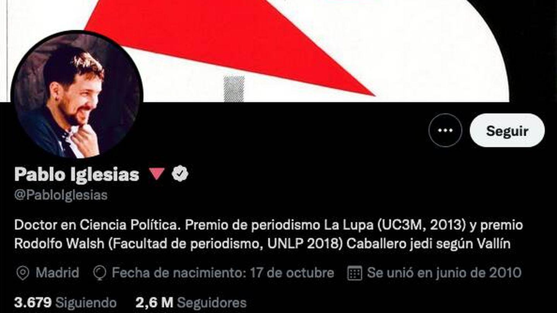 El nuevo perfil de Pablo Iglesias. (Twitter @pabloiglesias)